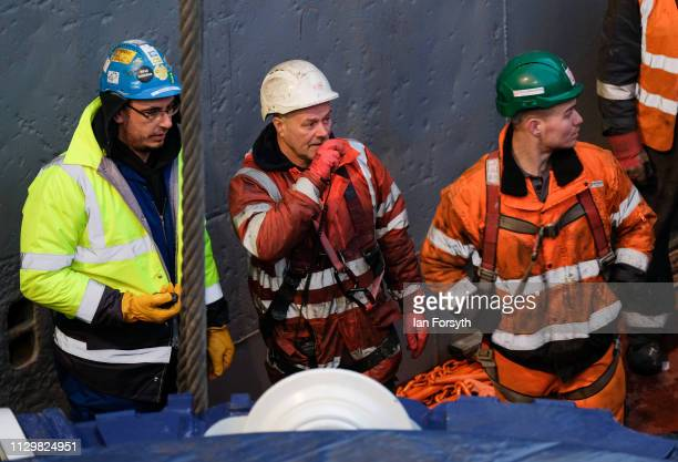 Engineers oversee the unloading of the Sirius Minerals Tunnel Boring Machine after it arrives by ship from Rotterdam at the AV Dawson logistics site...