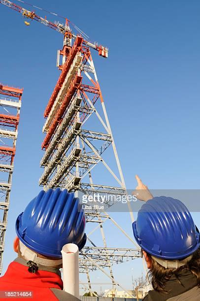 Planeamento no local de construção engenheiros
