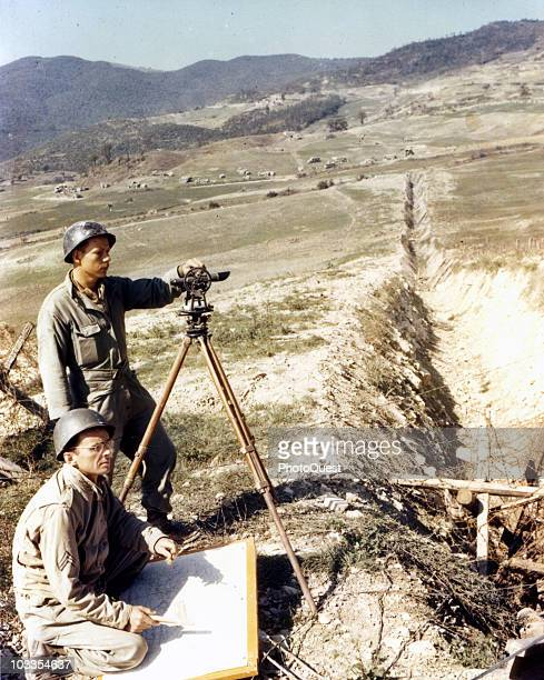 Engineers survey an extensive tank trap before Futa Pass, Italy, gateway to the Gothic Line in the Appenines and one of the most formidable sectors...