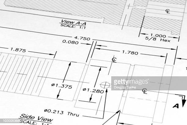 engineers tools on a blueprint drawing - blueprint stock pictures, royalty-free photos & images