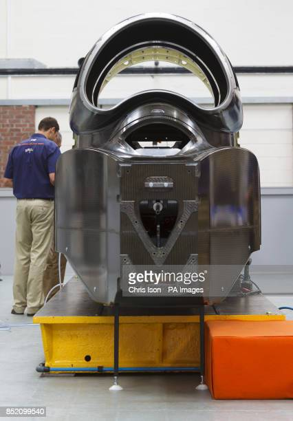 Engineers work on the SSC Bloodhound jet car at the Bloodhound Technical Centre at Avonmouth near Bristol which will be used to try to beat the World...