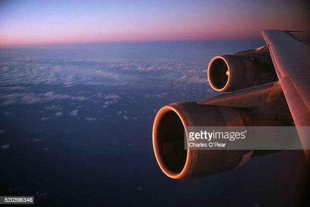 Engines on Wing of a Boeing 747 in Flight