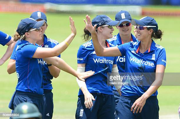 Englad celebrate the wicket of Mignon du Preez of South Africa during the One Day International match between South African Women and England Women...