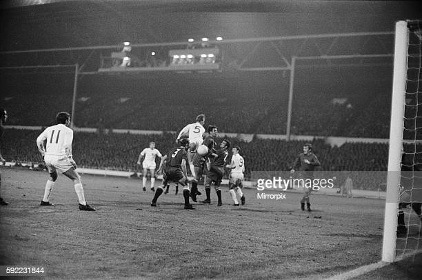 England 1 v Spain 0 Jack Charlton jumps up for the ball during the match at Wembley 3rd April 1968