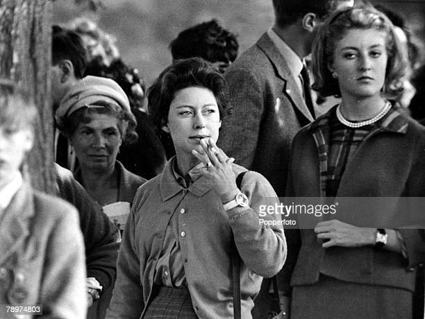 England 10th September HRH Princess Margaret watches the First World Championship Horse Trials at Burghley during her tour of the course