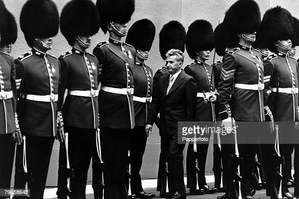 England 13th June 1978 President Nicolae Ceausescu of Romania inspects a Guard of Honour as he arrives in London for a state visit
