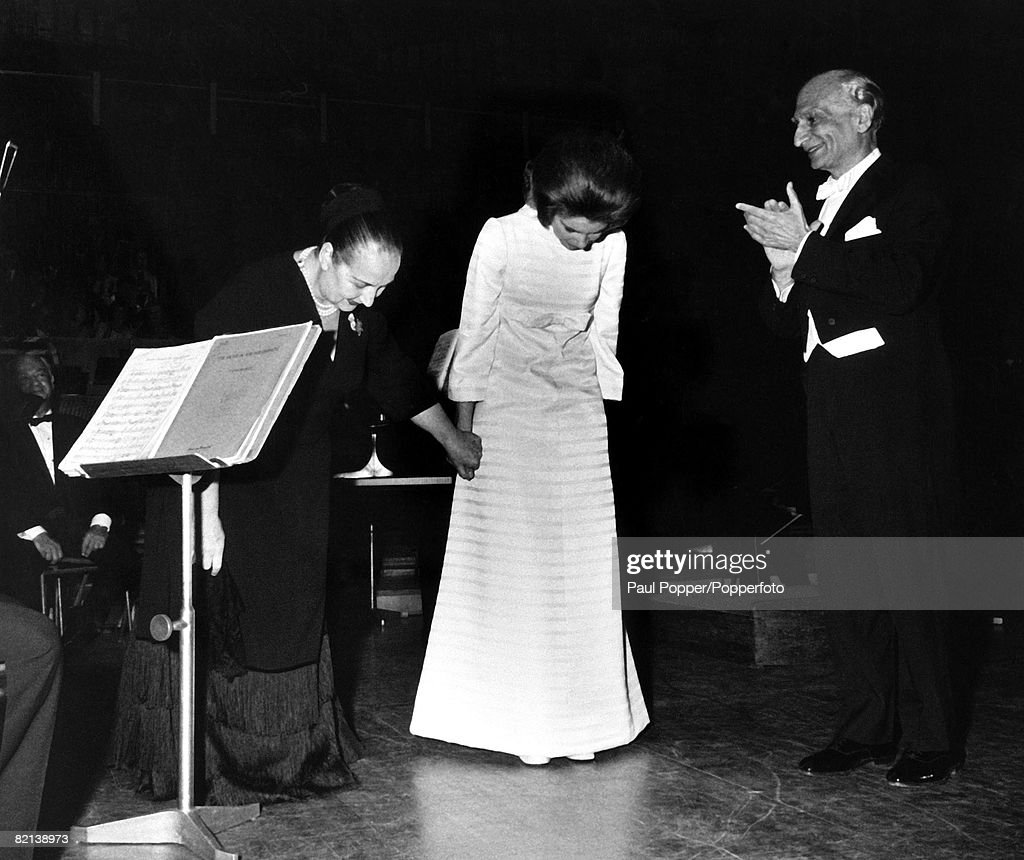 England, 17th June 1969, Princess Irene of Greece takes a bow with her distinguished piano tutor Gina Bachauer on stage at the Royal Festival Hall after Princess Irene made her British debut as a concert pianist : News Photo