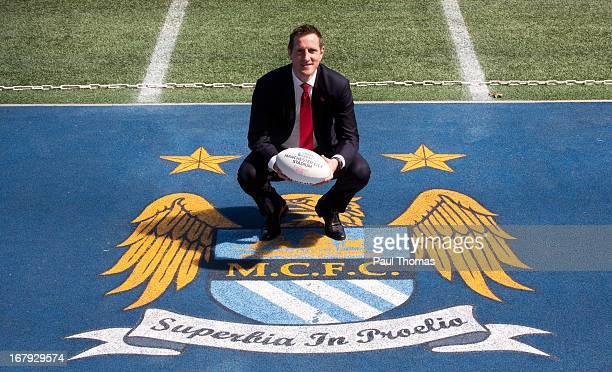 England 2015 ambassador Will Greenwood poses during the IRB Rugby World Cup 2015 Schedule Announcement at Manchester City Stadium on May 2 2013 in...