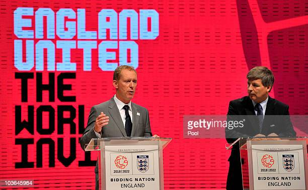 England 2018 CEO Andy Anson and Harold Mayne Nicholls Leader of the FIFA Inspection team during the departure press statement at Manchester Central...