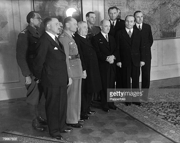 England 23rd July Dr Edvard Benes new President of Czechoslovakia in exile pictured 5th from right with members of his new government in London...
