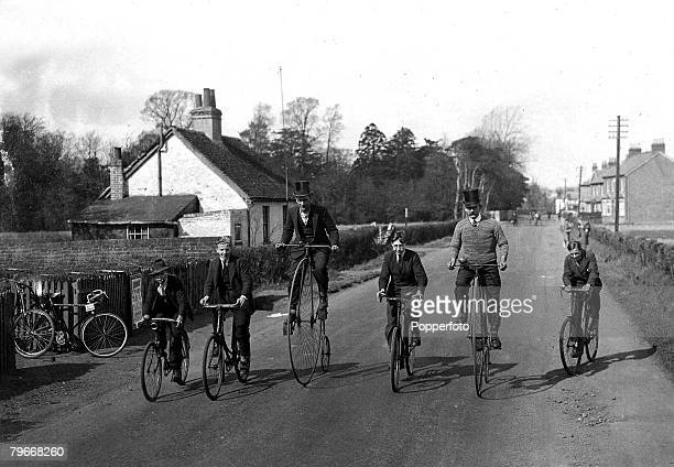 England 23rd March Family members on a bicycle ride at Feltham Middlesex with the older members riding 'Penny Farthing' bikes