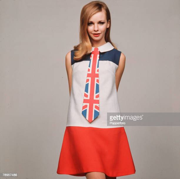 England A model is pictured wearing a red white and blue minidress with Union Jack kipper tie