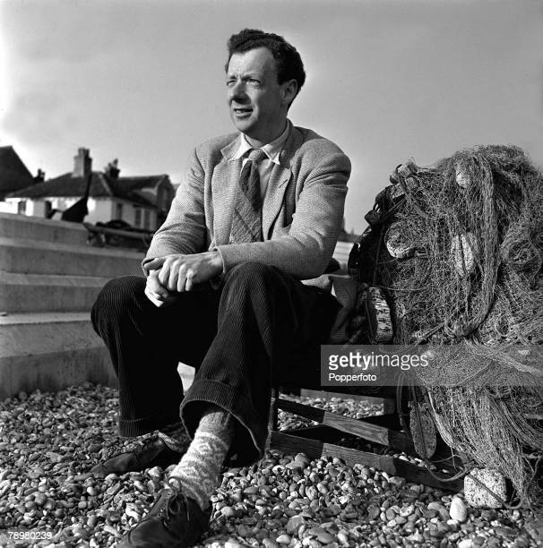 England A portrait of British composer pianist and conductor Benjamin Britten taken on the beach at Aldburgh Suffolk in 1951