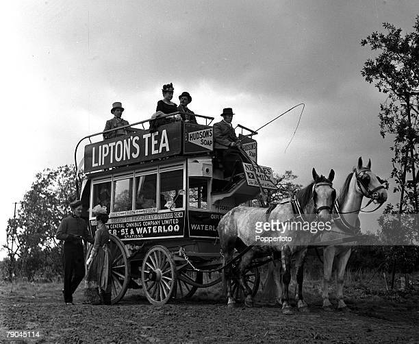England A scene from the film The Magic Box at Shepperton showing an old horse drawn bus