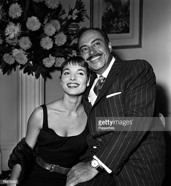 """England Actress Elsa Martinelli is pictured with actor Pedro Armendariz at a press reception at the Mayfair Hotel for the film """"Manuela"""""""