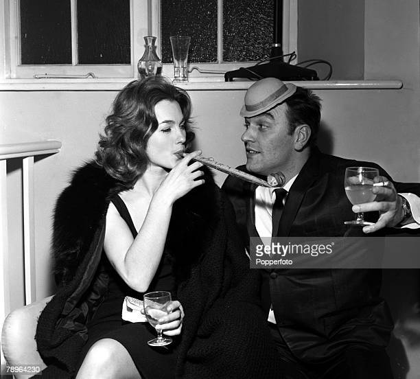 England Actress Shirley Anne Field and bandleader Al Saxon are pictured at Philips Christmas Party
