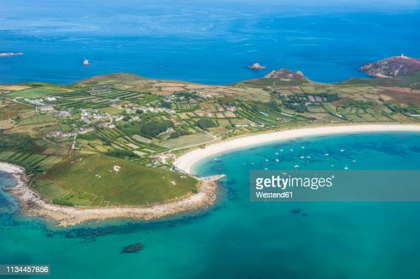 uk, england, aerial view of the isles of scilly - isles of scilly stock pictures, royalty-free photos & images