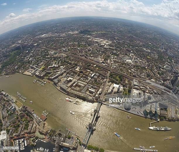 uk, england, aerial view of tower bridge and london - mattscutt stock pictures, royalty-free photos & images