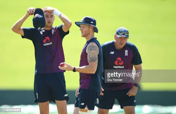 England all rounder Ben Stokes bowler Stuart Broad with head coach Chris Silverwood during an England nets session ahead of the First Test Match...