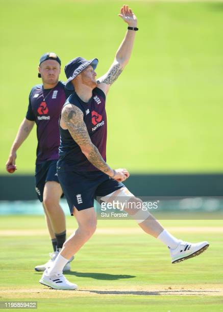 England all rounder Ben Stokes in bowling action during an England nets session ahead of the First Test Match against South Africa at SuperSport Park...
