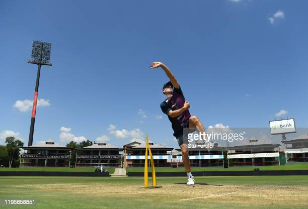 England all rounder Joe Denly in bowling action during an England nets session ahead of the First Test Match against South Africa at SuperSport Park...
