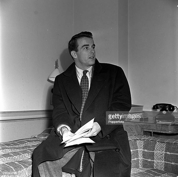 England American film star Montgomery Clift is pictured in his room at the Savoy Hotel
