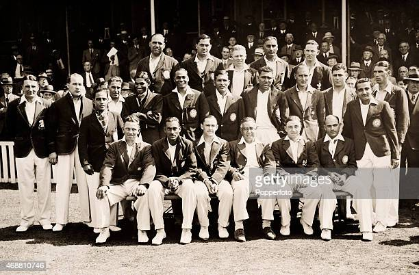 England and All India pose for a combined team photograph prior to the start of the the 3rd Test match at the Oval in London 15th August 1936 England...