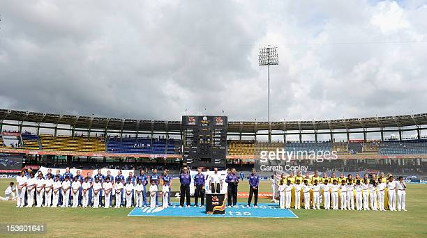 England and Australia line up for the national anthems ahead of the ICC Women's World Twenty20 2012 Final between Australia and England at R...