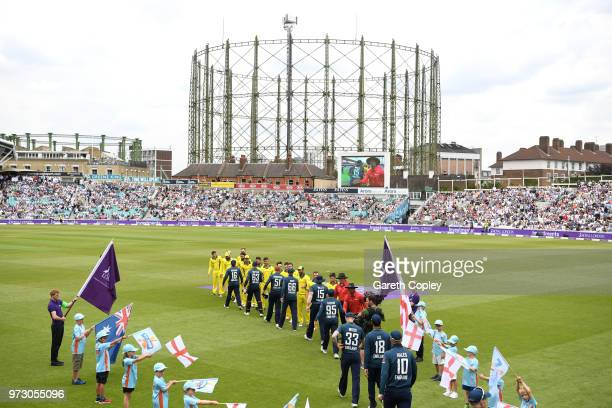 England and Australia players shake hands ahead of the 1st Royal London ODI match between England and Australia at The Kia Oval on June 13 2018 in...