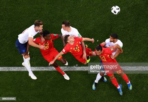 England and Belgium compete for a header during the 2018 FIFA World Cup Russia group G match between England and Belgium at Kaliningrad Stadium on...