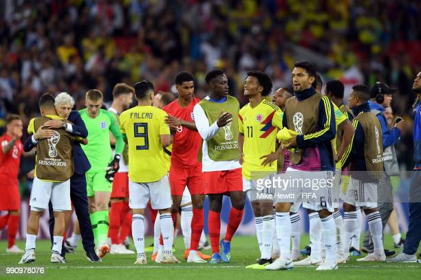 England and Colombia players congratulate each others following the 2018 FIFA World Cup Russia Round of 16 match between Colombia and England at...