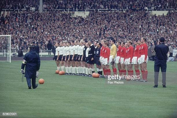 England and Germany line up with match officials before the World Cup Final at Wembley Stadium 30th July 1966 England went on to win 42