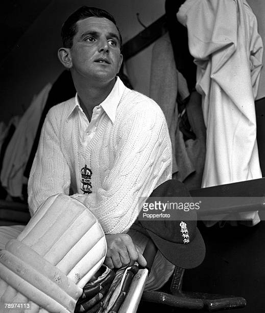 1951 England and Gloucester cricketer Tom Graveney is pictured padded up in the dressing room