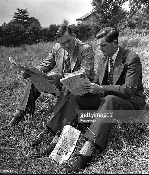1951 England and Gloucester cricketer Tom Graveney is pictured with Surrey and England bowler Alec Bedser