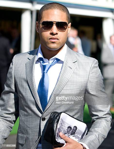England and Liverpool footballer Glen Johnson is seen on Ladies Day at Aintree racecourse on April 08, 2011 in Liverpool, England .