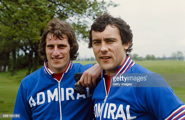 England and Liverpool team mates Ray Clemence and Ray Kennedy pictured at an England training session circa 1977