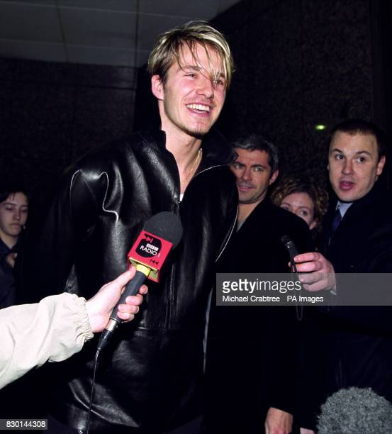 England and Manchester United soccer star David Beckham speaking to the media outside the Portland Hospital in central London to announce his fiancee...