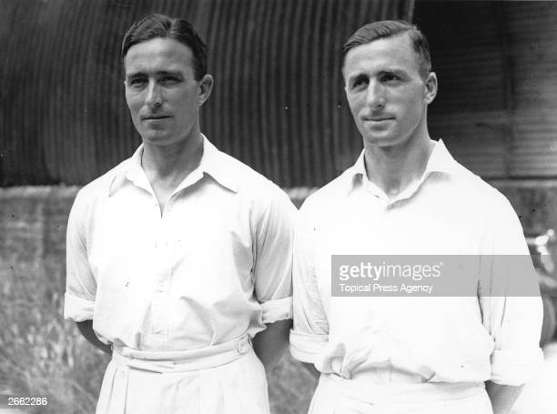England and Middlesex cricketer Denis Compton left and cricketer J D Robertson Robertson played for 'The Rest' during the England v The Rest Test...