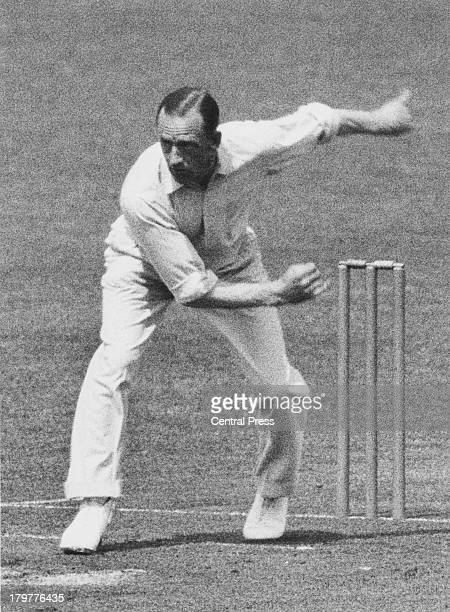 England and Middlesex cricketer Walter Robins bowling in the 1st Test against South Africa at Trent Bridge, Nottingham, 15th-18th June 1935.