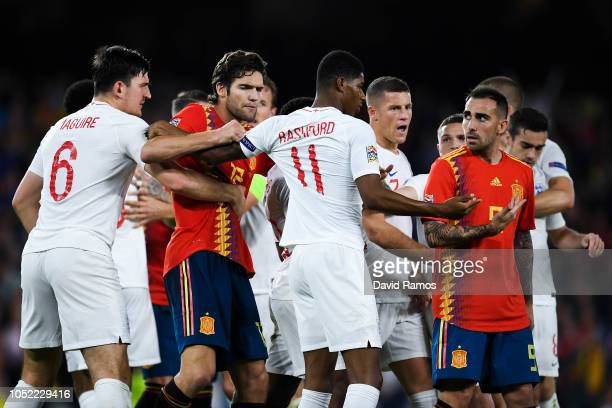 England and Spain players argue during the UEFA Nations League A group four match between Spain and England at Estadio Benito Villamarin on October...