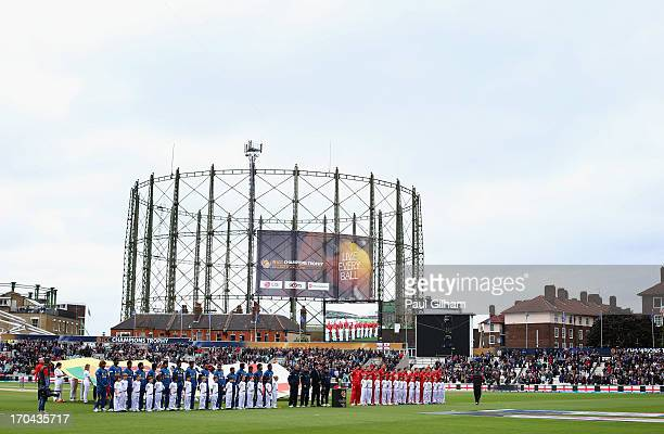 England and Sri Lanka line up for the national anthems during the ICC Champions Trophy Group A match between England and Sri Lanka at The Kia Oval on...
