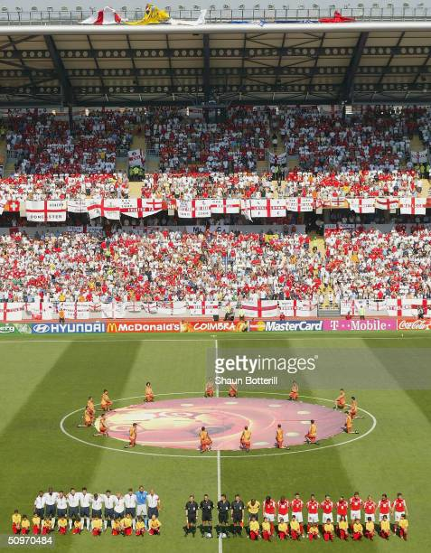 England and Switzerland line-up for the national anthems before the UEFA Euro 2004 Group B match between England and Switzerland at the Estadio...
