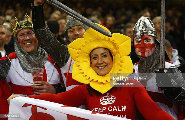 England and Wales fans enjoy the atmosphere during the RBS Six Nations match between Wales and England at Millennium Stadium on March 16 2013 in...