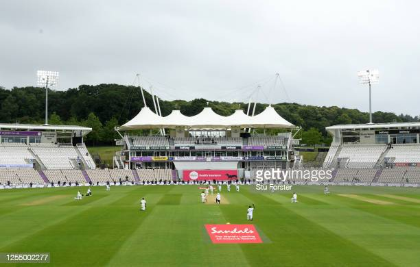 England and West Indies players take a knee ahead of day one of the 1st #RaiseTheBat Test match at The Ageas Bowl on July 08, 2020 in Southampton,...