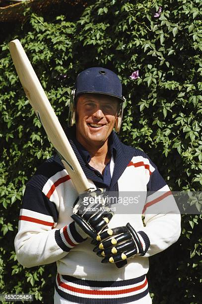 England and Yorkshire batsman Geoff Boycott models England's new One Day International day/night kit which was eventually rejected by the ICC.