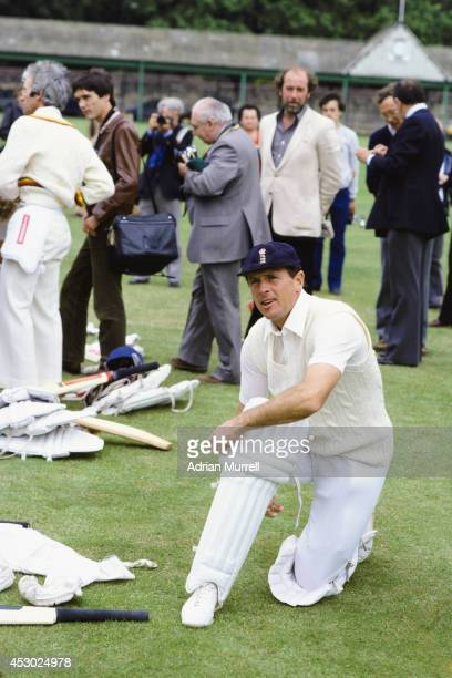 England and Yorkshire batsman Geoff Boycott pads up for a net session prior to his 100th Test match, the 2nd Cornhill Test Match between England and...