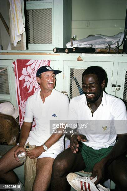 England and Yorkshire batsman Geoff Boycott shares a joke with West Indies batsman Viv Richards in the dressing room during the 1981 Test series...