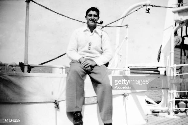 England and Yorkshire fast bowler Fred Trueman during the sea voyage home to England after the MCC Tour of the West Indies 8th April 1954 With the...