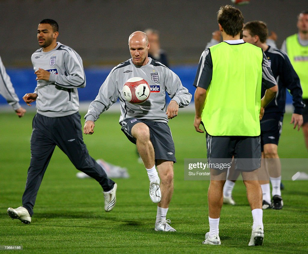 England Andy Johnson controls the ball during England training today at The Ramat Gan Stadium ahead of tomorrows Euro 2008 Qualifier against Israel on March 23, 2007 in Tel Aviv, Israel.