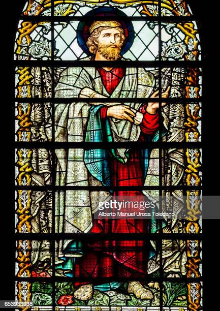 england, anglican liverpool cathedral - stained glass window - old testament stock pictures, royalty-free photos & images
